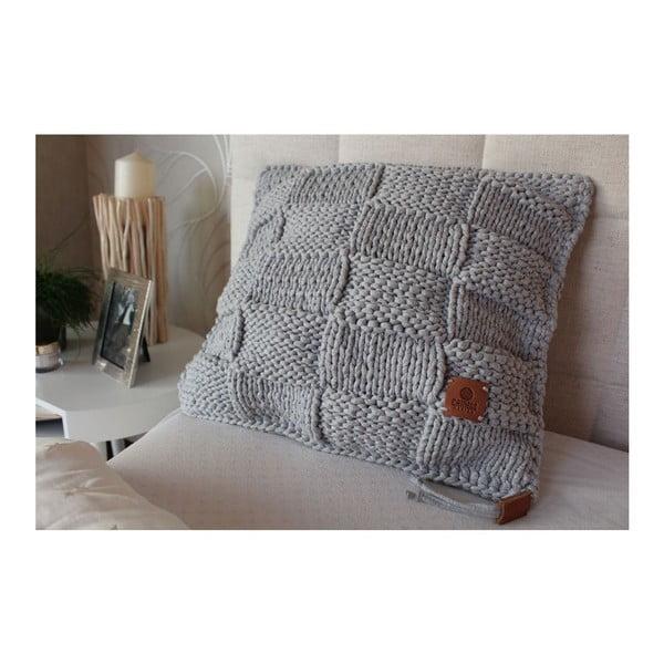 Poduszka dziergana Catness, szara kostka, 50x50 cm