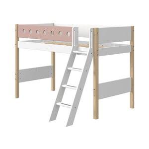 Różowo-białe dziecięce łóżko z drabinką i z nogami z drewna brzozowego Flexa White, wys. 143 cm