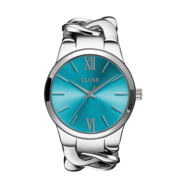 Zegarek damski Elegante Silver/Blue Lagoon, 38 mm
