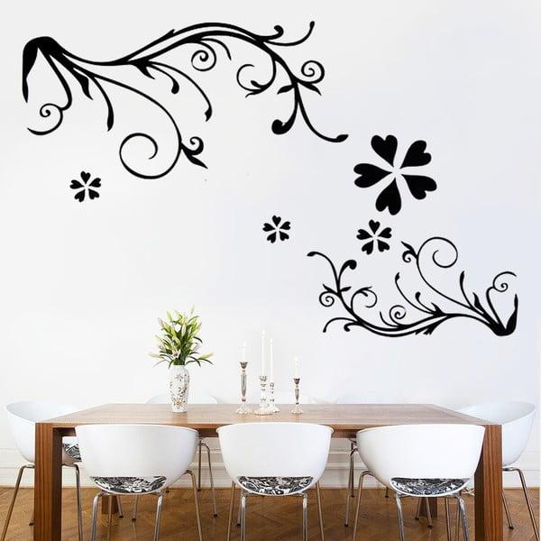 Naklejka ścienna Black Floral, 60x90 cm