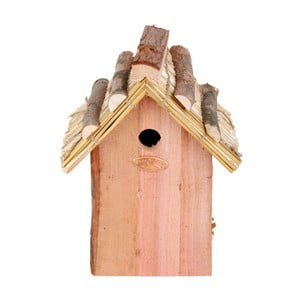 Budka dla ptaków z drewna jodłowego ze słomianym daszkiem Esschert Design Antik, wys.27cm