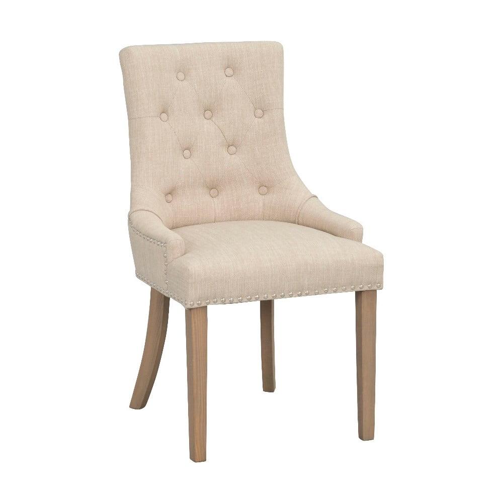 Beżowe tapicerowane krzesło do jadalni z brązowymi nogami Rowico Vicky