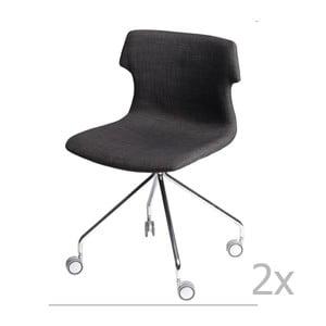Zestaw 2 brązowych tapicerowanych krzeseł D2 Techno Roll
