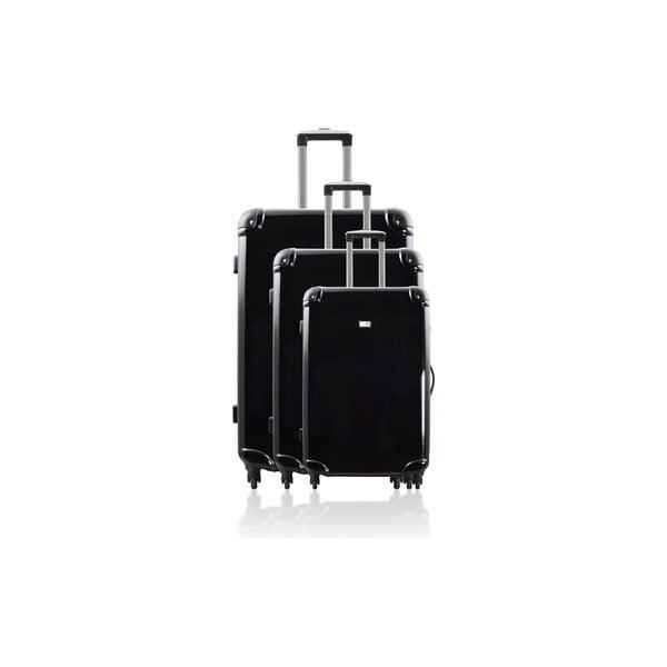 Zestaw 3 walizek Integre Full Black, 114 l/75 l/46 l