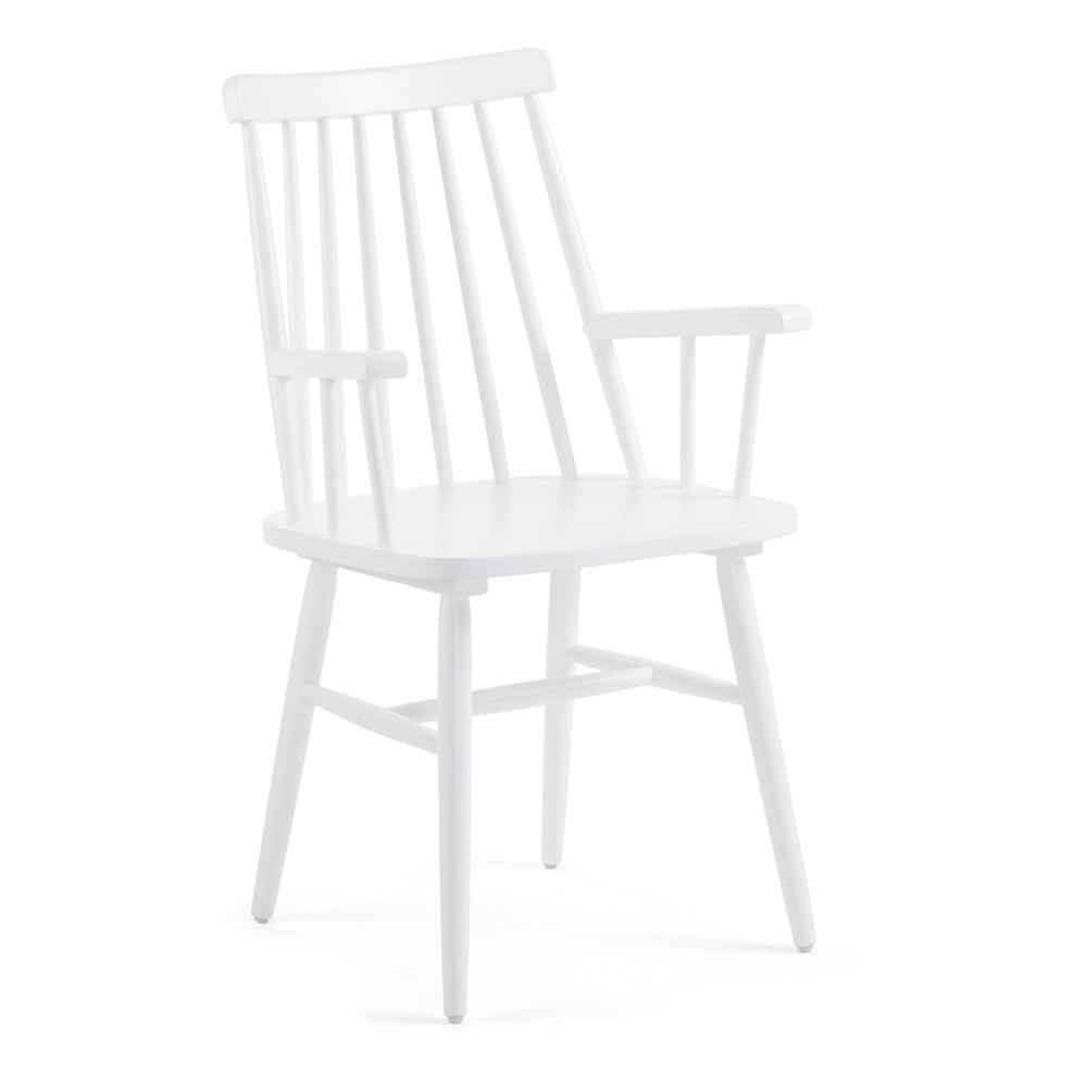 Białe krzesło z drewna kauczukowego La Forma Kristie