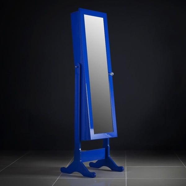 Zamykane lustro stojące ze schowkiem, niebieskie