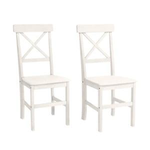 Zestaw 2 białych krzeseł z drewna sosnowego Støraa Nicoline