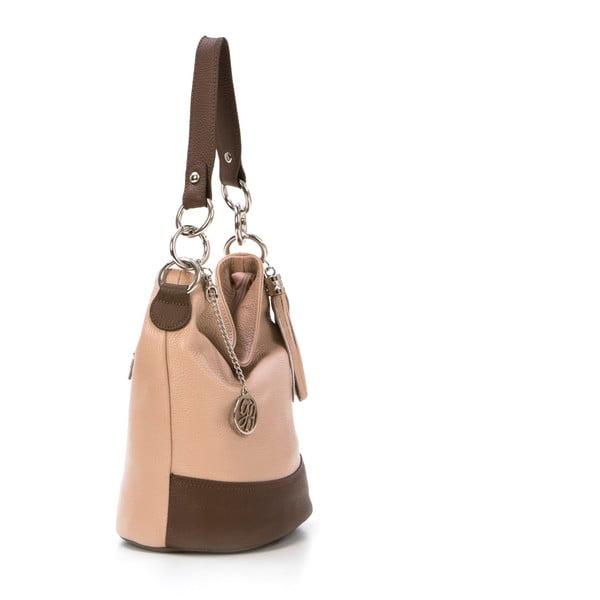 Skórzana torebka Luigi, pudrowo-brązowa