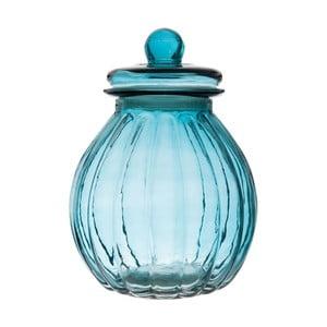 Szklany pojemnik Ribbed Blue, 19x26 cm