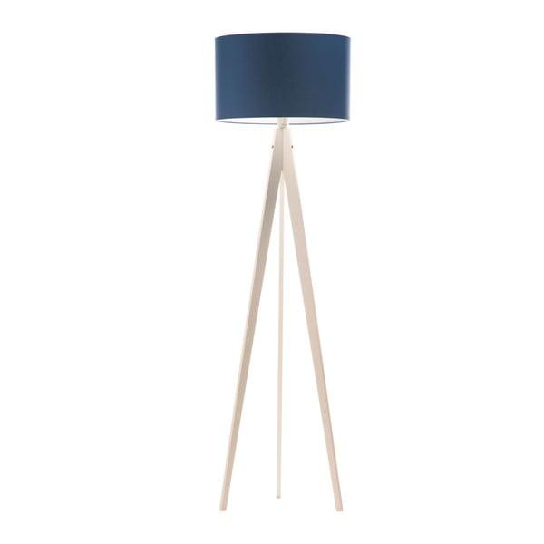 Niebieska lampa stojąca Artist, biała lakierowana brzoza, 150 cm