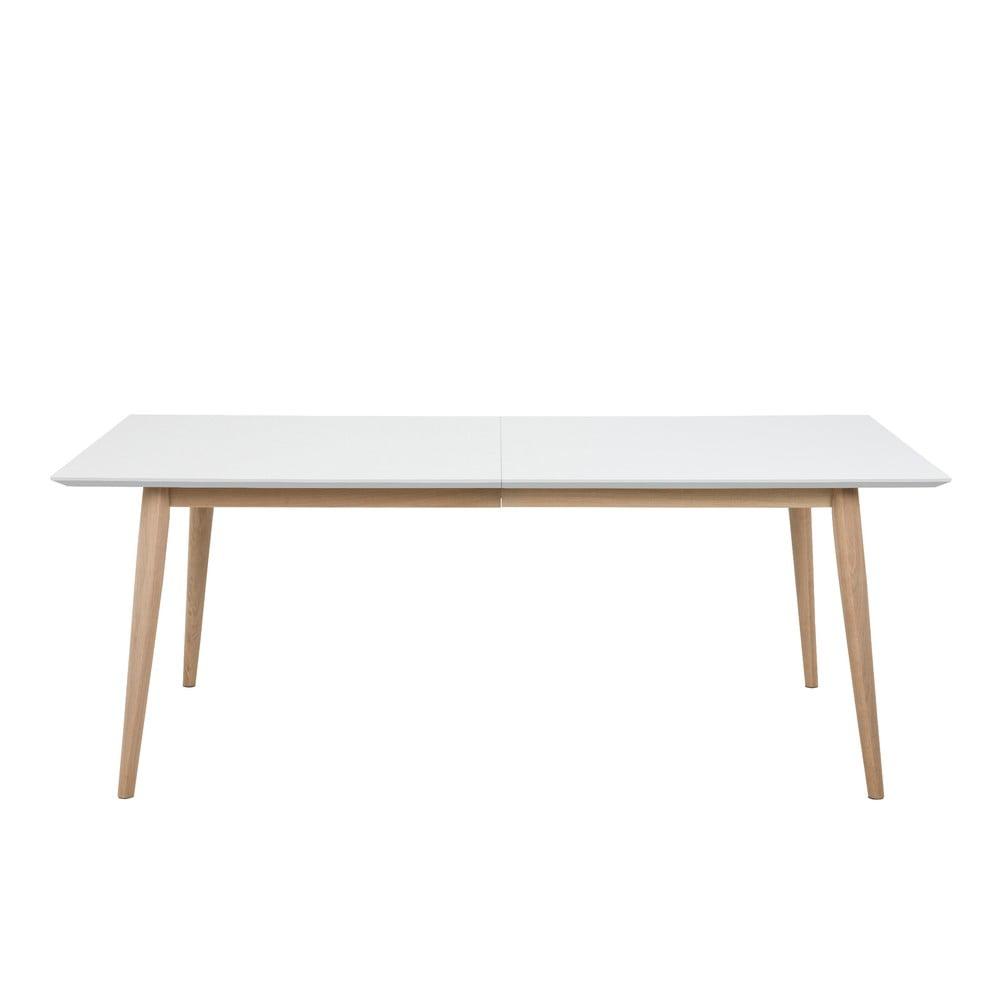 Biały rozkładany stół z konstrukcją z drewna dębowego Actona Century, 200x100 cm