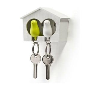 Budka z zawieszkami na klucze QUALY Duo Sparrow, biała/zielona