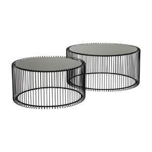 Zestaw 2 czarnych stolików Kare Design Wire