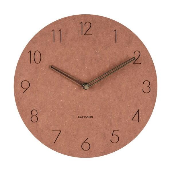 Brązowy drewniany zegar ścienny Karlsson Dura, ⌀29 cm
