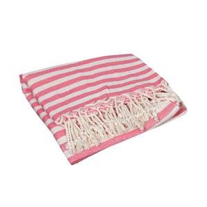 Koralowoczerwony ręcznik hammam Akasya Coral, 90x190cm