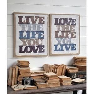 Komplet 2 dekoracji ściennych Live Life Love