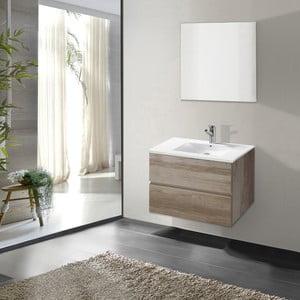 Szafka do łazienki z umywalką i lustrem Flopy, motyw dębu, 60 cm