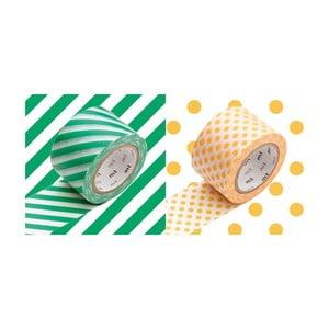 Zestaw 2 taśm dekoracyjnych washi Rayé Green Apricot