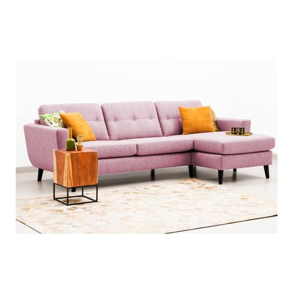 Jasnoróżowa sofa z szezlongiem po prawej stronie Vivonita Harlem