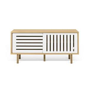 Stolik pod TV w kolorze dębu z białymi elementami TemaHome Dann Stripes, dł. 135cm