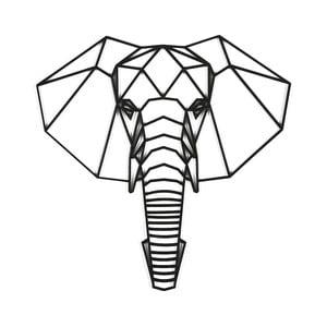 Czarna dekoracja ścienna Dekorjinal Pouff Elephants Head, 59x59cm