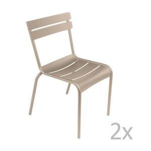 Zestaw 2 jasnobeżowych krzeseł Fermob Luxembourg