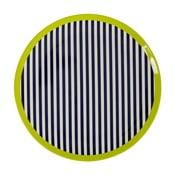 Czarno-biały talerz w paski z zielonym detalem Premier Housewares Mimo, ⌀20cm