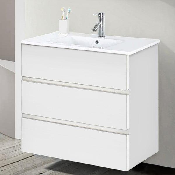 Szafka do łazienki z umywalką i lustrem Nayade, odcień bieli, 70 cm