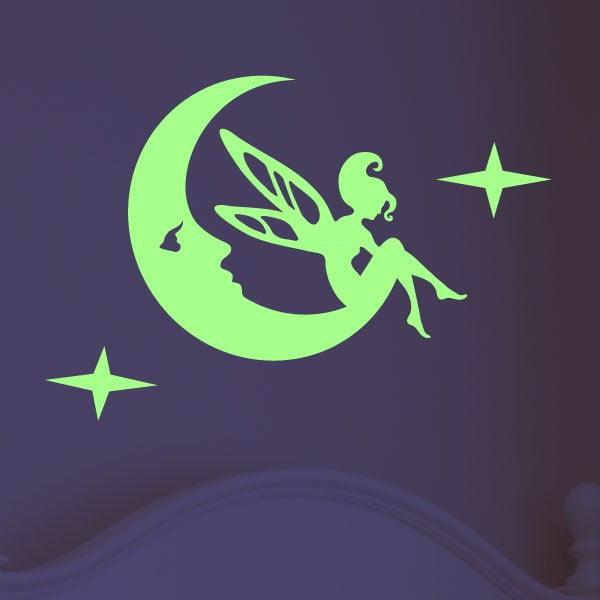 Naklejka świecąca w ciemności Fairy on the Moon