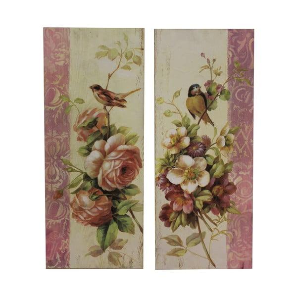Zestaw 2 obrazów Antic Line Roses and Birds