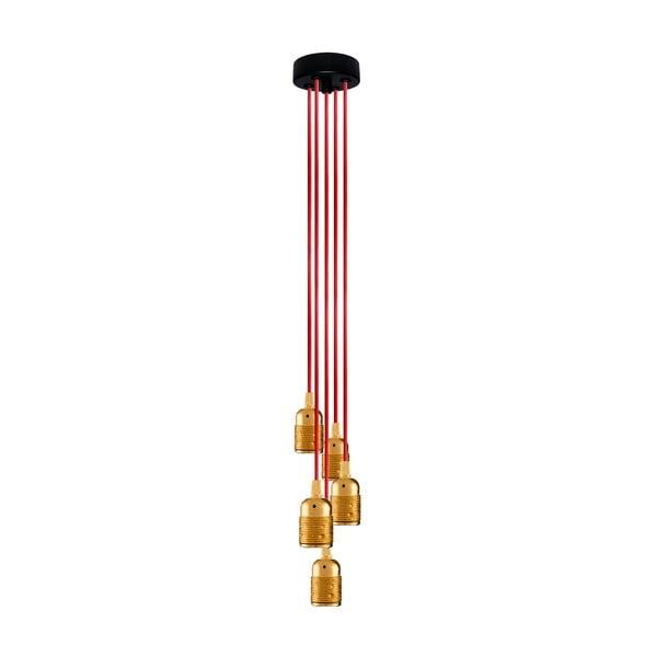 Pięć wiszących kabli Uno Group, złoty/czerwony