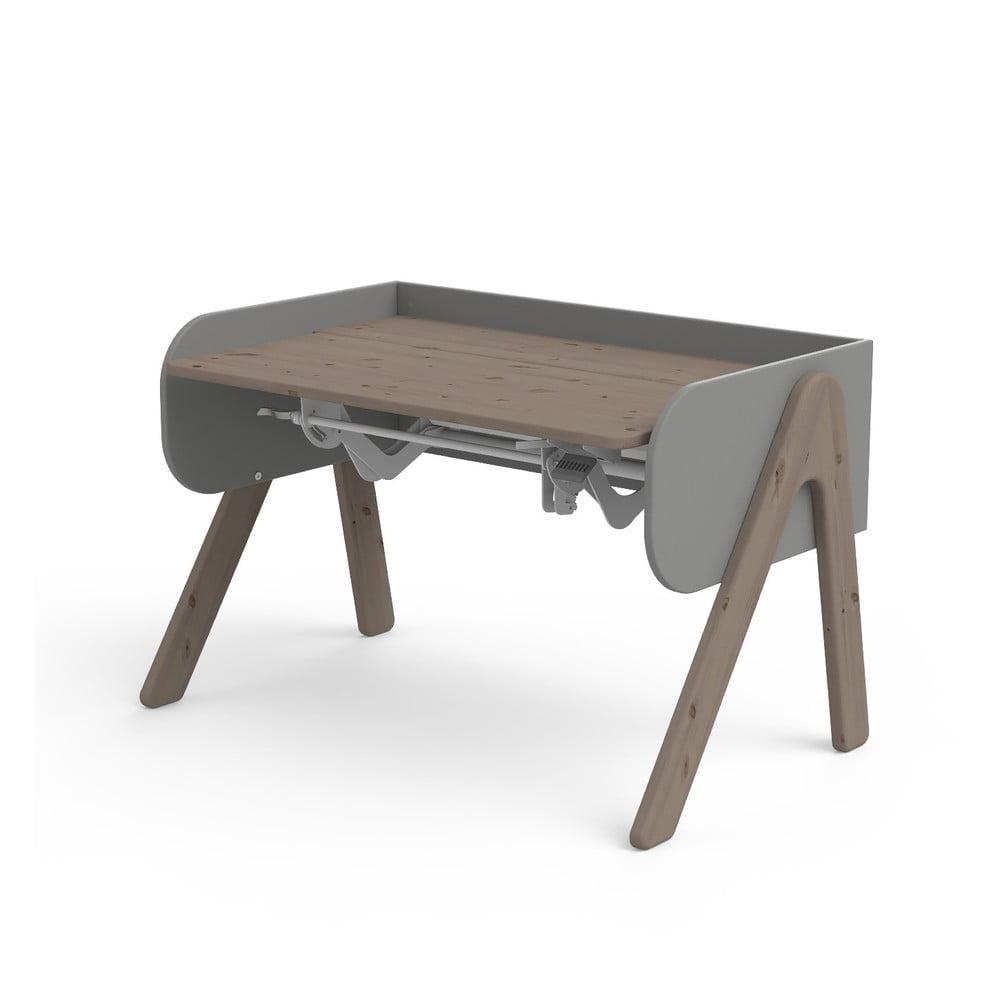 Ciemnobrązowo-szare biurko z drewna sosnowego z regulacją wysokości Flexa Woody