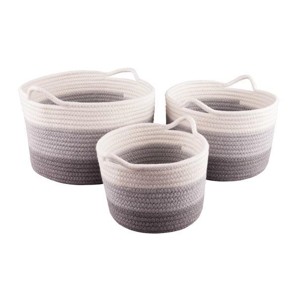 Komplet 3 okrągłych koszyków bawełnianych Nil