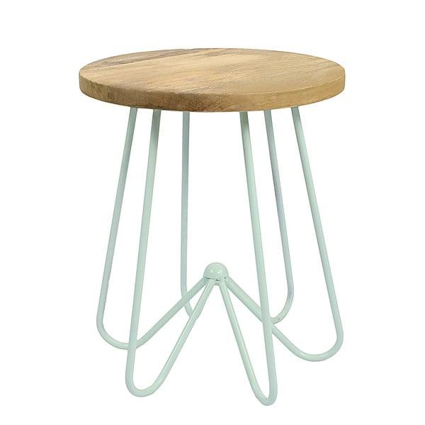 Jasnozielony stolik z drewnianym blatem HF Living Round