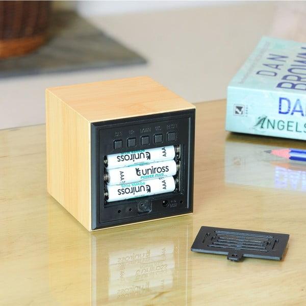 Budzik Cube Click Clock z niebieskim LED, beech