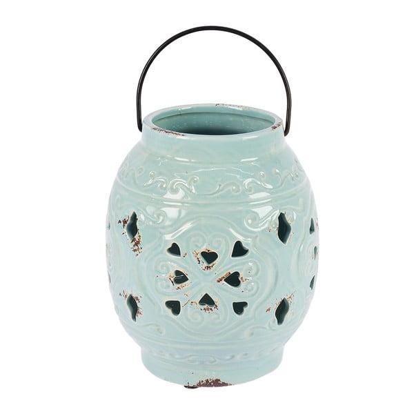 Lampion ceramiczny, jasnoniebieski