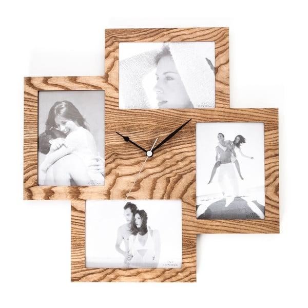 Zegar ścienny z ramkami na zdjęcia Tomasucci Collage Wood