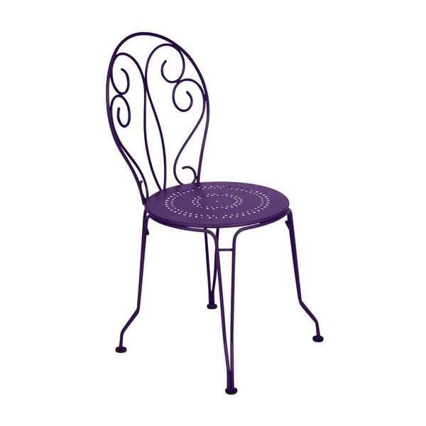 Fioletowe krzesło metalowe Fermob Montmartre