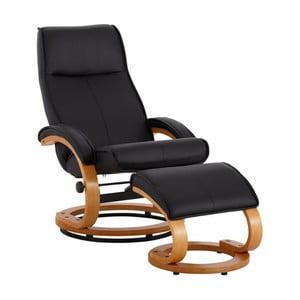 Czarny fotel regulowany z podnóżkiem z obiciem ze skóry ekologicznej Støraa Rika