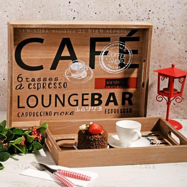 Zestaw 2 drewnianych tac Café Bar