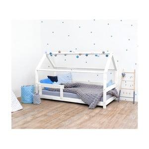 Białe łóżko dziecięce z bokami z naturalnego drewna świerkowego Benlemi Tery, 120x160 cm