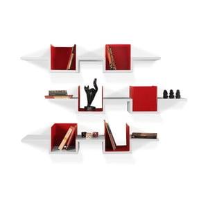 Zestaw 3 półek wiszących Alec White/Red