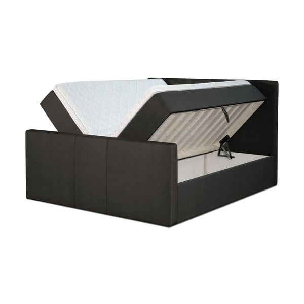 Czarne łóżko z materacem Gemega Amberbox, 140x200 cm