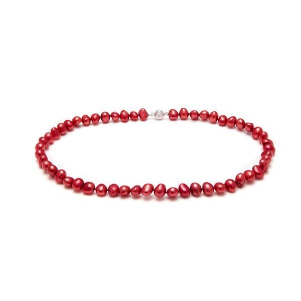 Naszyjnik z pereł słodkowodnych Baroque, czerwony