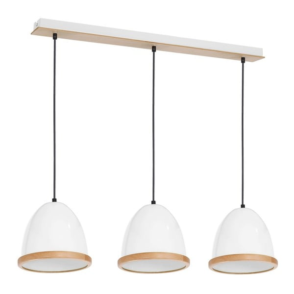 Biała lampa wisząca z drewnianymi detalami Studio Tres