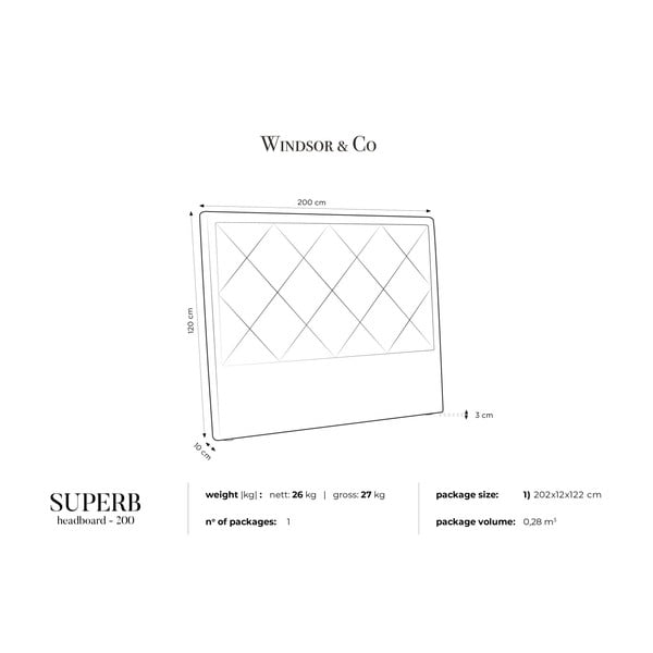 Jasnoszary zagłówek łóżka Windsor & Co Sofas Superb, 200x120 cm