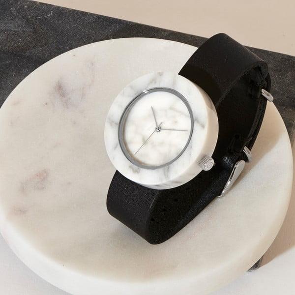 Biały marmurkowy zegarek z czarnym paskiem Analog Watch Co. Marble