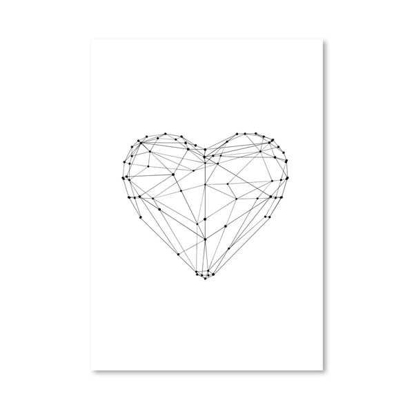 "Plakat ""Love Heart Wire Polygon"", 42x60 cm"