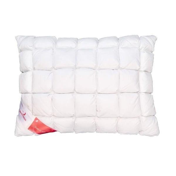 Biała poduszka z gęsim puchem Feeling Honeycomb Green Future, 50x70cm