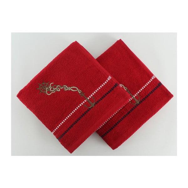 Komplet 2 ręczników Marina Red Cipa, 50x90 cm